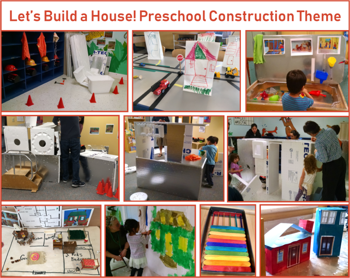 Photos of several construction themed preschool activities described in the post