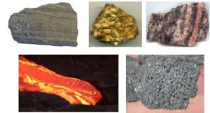 Clockwise from top left: sedimentary, conglomerate, metamorphic, igneous, lava