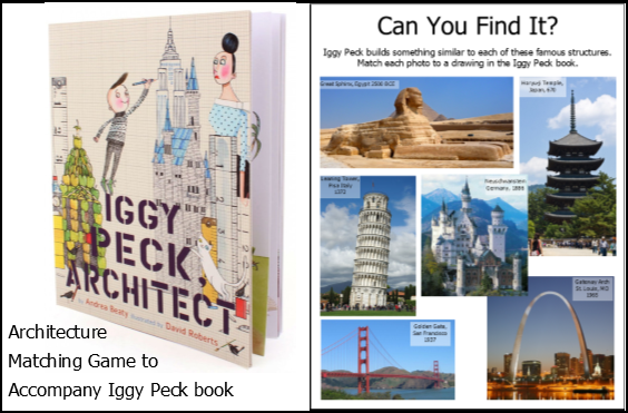 Architecture Matching Game for Kids age 4 - 6 for book Iggy Peck Architect