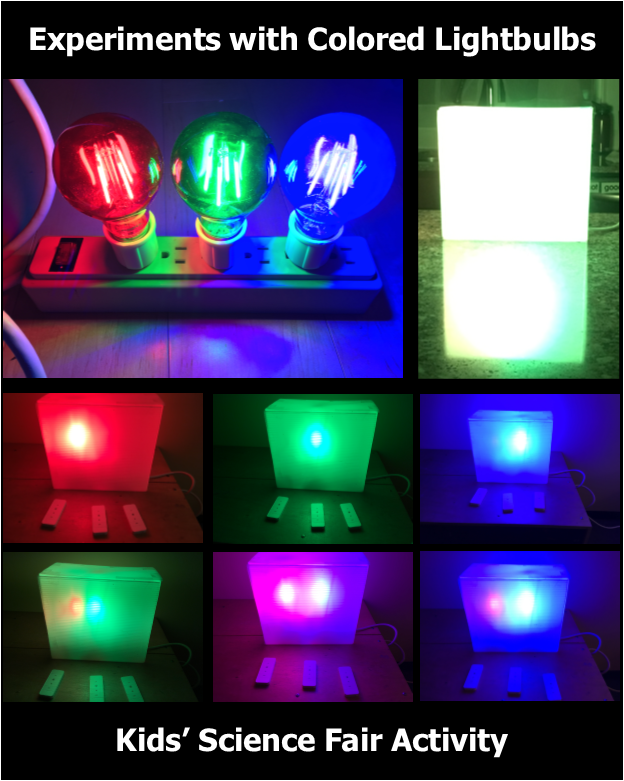 photo of colored light bulb experiments